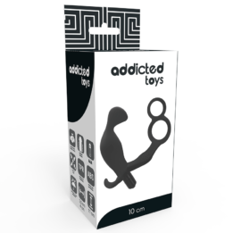 ADDICTED TOYS BUTT PLUG WITH COCK RING AND BALL-STRAP - BLACK