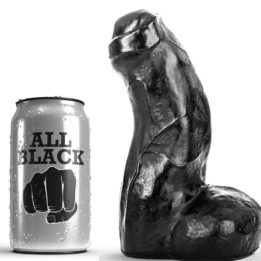 ALL BLACK REALISTIC DONG 17CM